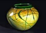 Golden Gem Vase - Emerald by Cristy Aloysi and Scott Graham (Art Glass Vase)