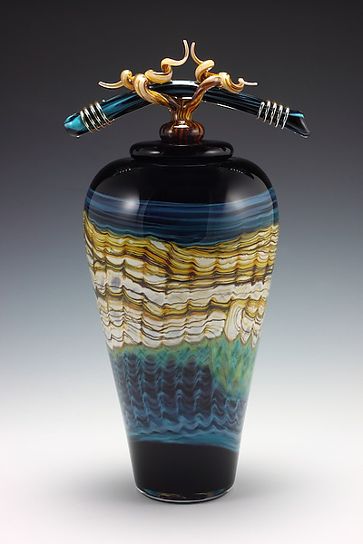 Black Opal Covered Jar with Bone and Tendril Finial