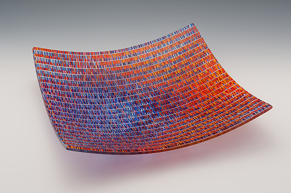 Large Tapestry Square Bowl in Jewel Tones