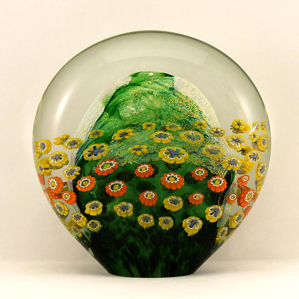 Flattened Moss Green Floral Paperweight