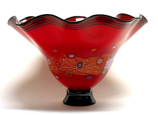 Fluted Rose Red Blossom Bowl