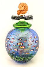 Aqua Wish Keeper by Ken Hanson and Ingrid Hanson (Art Glass Vessel)