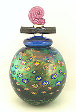 Emerald Wish Keeper Jar by Ken Hanson and Ingrid Hanson (Art Glass Vessel)