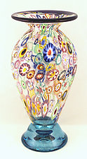 Tall Classic Impressionist Vase by Ken Hanson and Ingrid Hanson (Art Glass Vase)