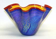 Fluted Cobalt Dichroic Bowl II by Ken Hanson and Ingrid Hanson (Art Glass Bowl)