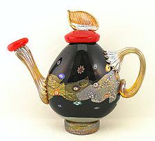 Small Black Blossom Flattened Teapot by Ken Hanson and Ingrid Hanson (Art Glass Teapot)