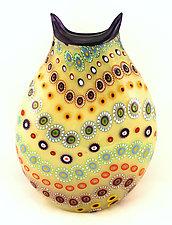 Large Beige Marakesh Vase with Purple Trim by Ken Hanson and Ingrid Hanson (Art Glass Vase)