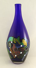 Large Cosmic Bottle by Ken Hanson and Ingrid Hanson (Art Glass Vessel)