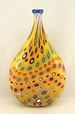 Marrakesh Bottle with Electric Blue Trim by Ken Hanson and Ingrid Hanson (Art Glass Vessel)
