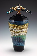 Black Opal Covered Jar with Bone and Tendril Finial by Danielle Blade and Stephen Gartner (Art Glass Vessel)
