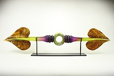 Amethyst and Lime Austral with Ring Inclusion by Danielle Blade and Stephen Gartner (Art Glass Sculpture)