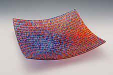 Large Tapestry Square Bowl in Jewel Tones by Richard Parrish (Art Glass Bowl)