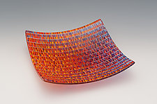 Medium Tapestry Square Bowl in Jewel Tones by Richard Parrish (Art Glass Bowl)