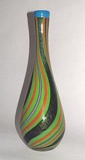 Apple Green Dichroic Bottle by Ken Hanson and Ingrid Hanson (Art Glass Vase)