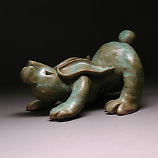 Downward Bunny by Steve Murphy (Ceramic Sculpture)