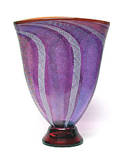 Amethyst Latticino and Dichroic Glass Vase by Ken Hanson and Ingrid Hanson (Art Glass Vase)