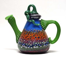 Delft Blue Garden Teapot by Ken Hanson and Ingrid Hanson (Art Glass Teapot)
