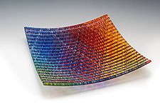 Prismatic Tapestry Tray by Richard Parrish (Art Glass Tray)