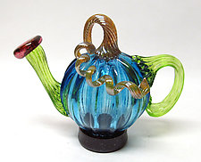 Light Blue Pumpkin Teapot by Ken Hanson and Ingrid Hanson (Art Glass Teapot)