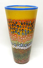 Large Primrose Garden Cylinder by Ken Hanson and Ingrid Hanson (Art Glass Vase)