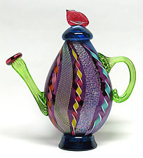 Dichroic Cane Teapot in Amethyst by Ken Hanson and Ingrid Hanson (Art Glass Teapot)