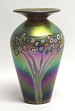 Gold Brown Vines Vase by Ken Hanson and Ingrid Hanson (Art Glass Vase)