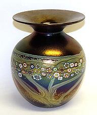Copper Ruby Vines Vase by Ken Hanson and Ingrid Hanson (Art Glass Vase)