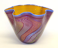 Yellow and Ruby Dichroic Bowl by Ken Hanson and Ingrid Hanson (Art Glass Bowl)
