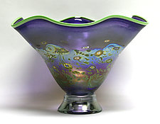 Fluted Hyacinth Monet Bowl by Ken Hanson and Ingrid Hanson (Art Glass Bowl)