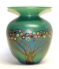 Jade Vines Vase by Ken Hanson and Ingrid Hanson (Art Glass Vase)