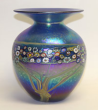 Iridescent Silver Blue Vines Vase by Ken Hanson and Ingrid Hanson (Art Glass Vase)