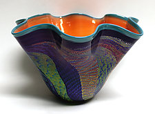Fluted Peach with Purple Dichroic Bowl by Ken Hanson and Ingrid Hanson (Art Glass Bowl)
