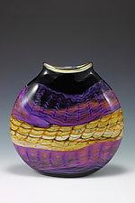 Black Opal Flat Vessel by Danielle Blade and Stephen Gartner (Art Glass Vessel)