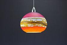 Round Strata Pendant in Ruby & Tangerine by Danielle Blade and Stephen Gartner (Art Glass Pendant Lamp)