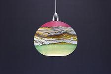 Round Strata Pendant in Amethyst & Sage by Danielle Blade and Stephen Gartner (Art Glass Pendant Lamp)