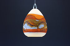 Teardrop Strata Pendant in White Opal with Tangerine by Danielle Blade and Stephen Gartner (Art Glass Pendant Lamp)