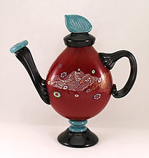 Red Blossom Teapot by Ken Hanson and Ingrid Hanson (Art Glass Teapot)