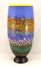 Large Garden Cylinder on Black Base by Ken Hanson and Ingrid Hanson (Art Glass Vase)