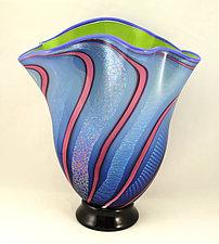 Apple and Aqua Dichroic Fan Vase by Ken Hanson and Ingrid Hanson (Art Glass Vase)