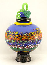 Lidded Garden Vessel by Ken Hanson and Ingrid Hanson (Art Glass Vessel)