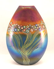 Sunset Forest Pouch Vase by Ken Hanson and Ingrid Hanson (Art Glass Vase)