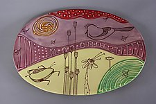 Oval Deco Tray with Bird by Abby Salsbury (Ceramic Tray)