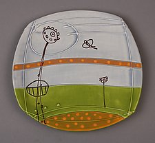 Small Deco Landscape Plate by Abby Salsbury (Ceramic Plate)