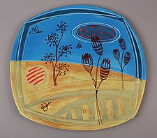 Large Deco Plate with Butterflies by Abby Salsbury (Ceramic Plate)