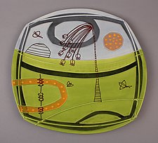 Large Deco Plate in Green by Abby Salsbury (Ceramic Plate)