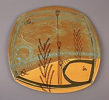 Large Earth Toned Deco Plate by Abby Salsbury (Ceramic Plate)