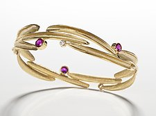 18kt Bangle with Sapphires and Diamonds by Alexan Cerna and Gina  Tackett (Gold & Stone Bracelet)