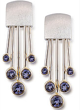 18kt White Gold and Iolite Earrings by Alexan Cerna and Gina  Tackett (Gold & Stone Earrings)