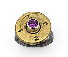 Peace Fire Amethyst Ring II by Alexan Cerna and Gina  Tackett (Silver, Brass & Stone Ring)
