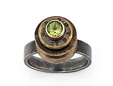 Peace Fire Peridot Ring by Alexan Cerna and Gina  Tackett (Silver, Brass & Stone Ring)